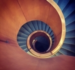 A bird's eye view of the spiral staircase at the Fields Institute.